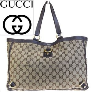 👜 GUCCI GG Shoulder Tote Canvas Leather Brown Bag